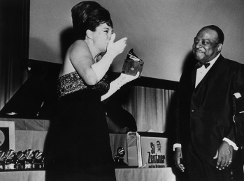 "Katyna receives a Golden Grammy Award for ""More"" from Count Basie, Hollywood 1964"