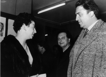 With Federico Fellini and Carlo Levi, Rome 1955